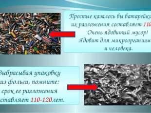 Простые казалось бы батарейки срок их разложения составляет 110 лет. Очень яд