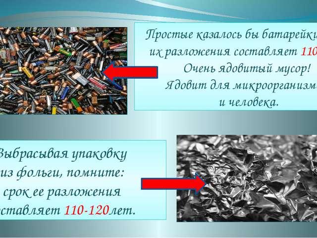 Простые казалось бы батарейки срок их разложения составляет 110 лет. Очень яд...