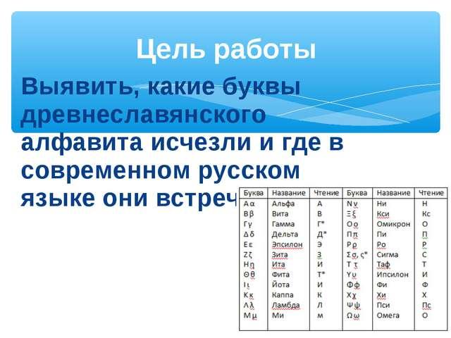 Выявить, какие буквы древнеславянского алфавита исчезли и где в современном р...