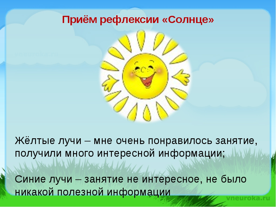Приём рефлексии «Солнце» Жёлтые лучи – мне очень понравилось занятие, получил...