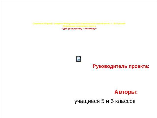 Социальный проект учащихся Малореченской общеобразовательной школы  I –III ст...