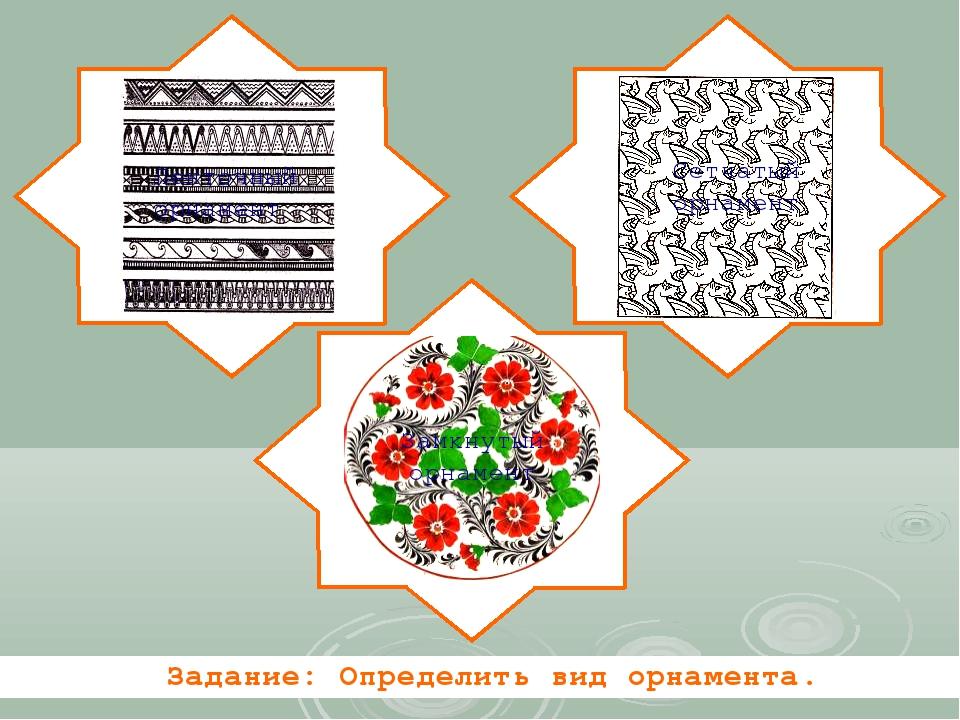 Ленточный орнамент Сетчатый орнамент Замкнутый орнамент Задание: Определить в...