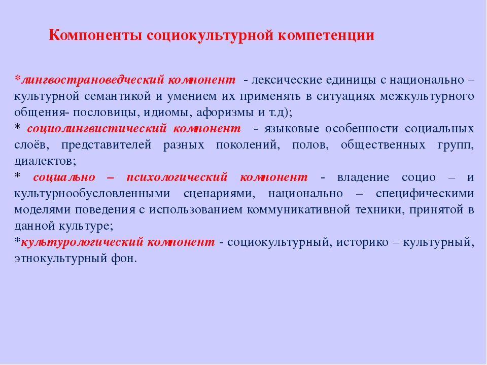 Компоненты социокультурной компетенции *лингвострановедческий компонент - лек...