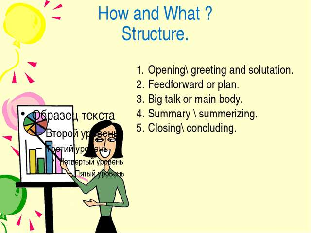 How and What ? Structure. Opening\ greeting and solutation. Feedforward or pl...