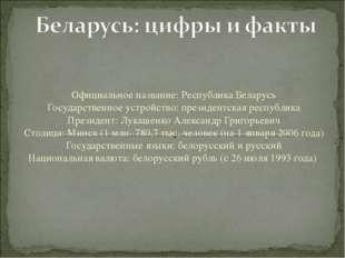 Официальное название: Республика Беларусь Государственное устройство: президе