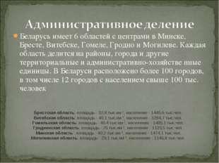 Беларусь имеет 6 областей с центрами в Минске, Бресте, Витебске, Гомеле, Грод
