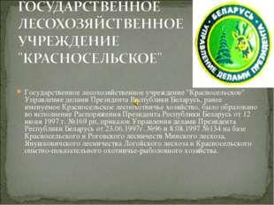 """Государственное лесохозяйственное учреждение """"Красносельское"""" Управление дела"""