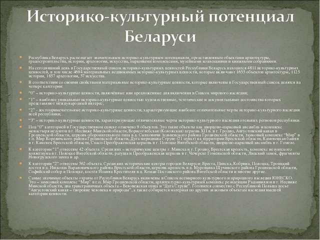 Республика Беларусь располагает значительным историко-культурным потенциалом,...