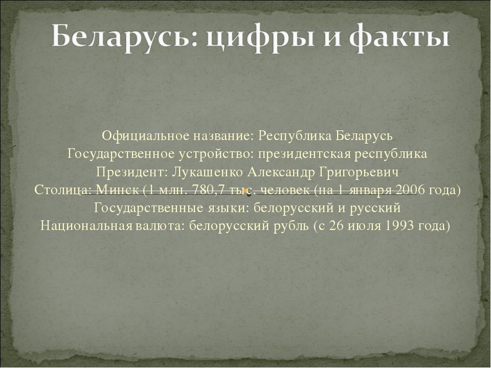 Официальное название: Республика Беларусь Государственное устройство: президе...