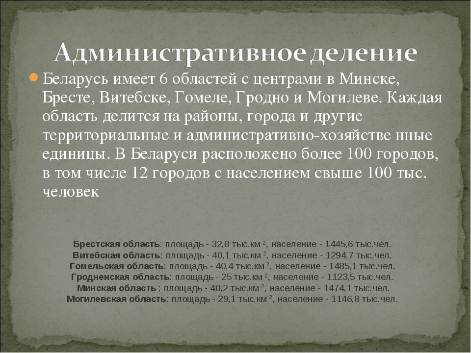 Беларусь имеет 6 областей с центрами в Минске, Бресте, Витебске, Гомеле, Грод...