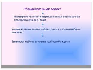 Познавательный аспект Многообразие поисковой информации о разных сторонах жи