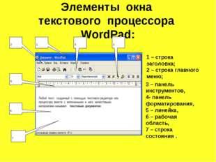 Элементы окна текстового процессора WordPad: 7 1 – строка заголовка; 2 – стро