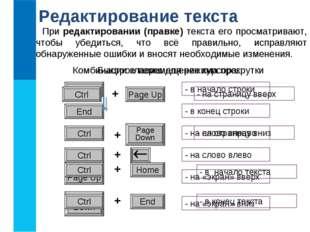 Редактирование текста При редактировании (правке) текста его просматривают, ч