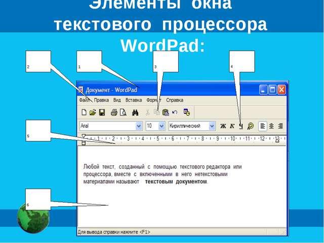 Элементы окна текстового процессора WordPad: