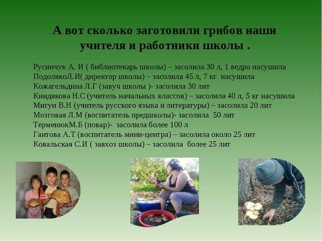 А вот сколько заготовили грибов наши учителя и работники школы . Русинчук А....