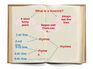 What is a limerick? A short funny poem Always has five lines Begins with The