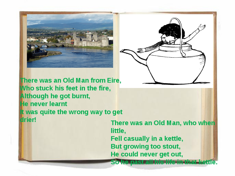There was an Old Man from Eire, Who stuck his feet in the fire, Although he g...