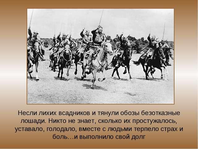 Несли лихих всадников и тянули обозы безотказные лошади. Никто не знает, скол...