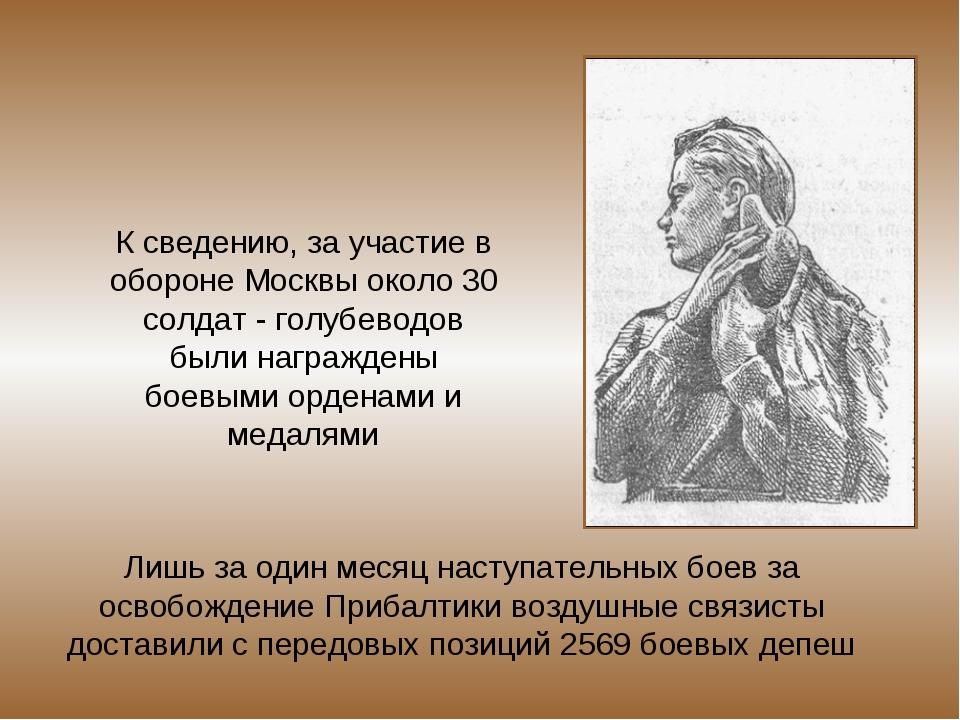 К сведению, за участие в обороне Москвы около 30 солдат - голубеводов были на...