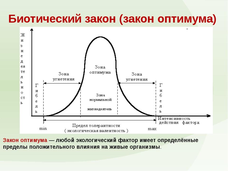 Биотический закон (закон оптимума) Закон оптимума— любой экологический факто...