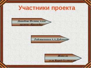 Давыдова Полина, член кружка «Краеведы» Родственники А.А.Дуденкова Жители се