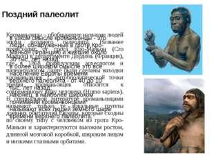 Поздний палеолит Кроманьонцы – обобщающее название людей эпохи позднего палео