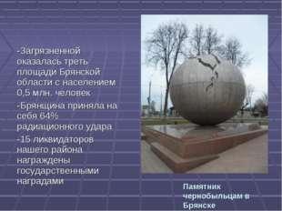 Памятник чернобыльцам в Брянске -Загрязненной оказалась треть площади Брянско