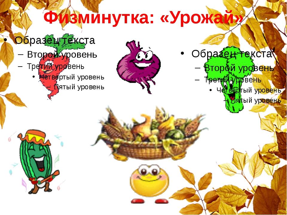 Физминутка: «Урожай»