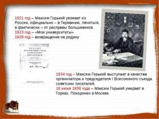 1934 год – Максим Горький выступает в качестве организатора и председателя I