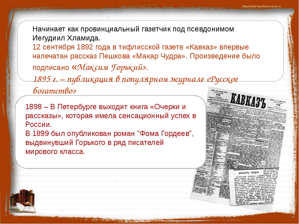 1898 – В Петербурге выходит книга «Очерки и рассказы», которая имела сенсаци...
