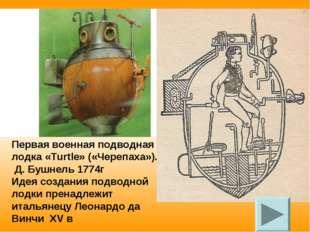 Первая военная подводная лодка «Turtle» («Черепаха»). Д. Бушнель 1774г Идея с