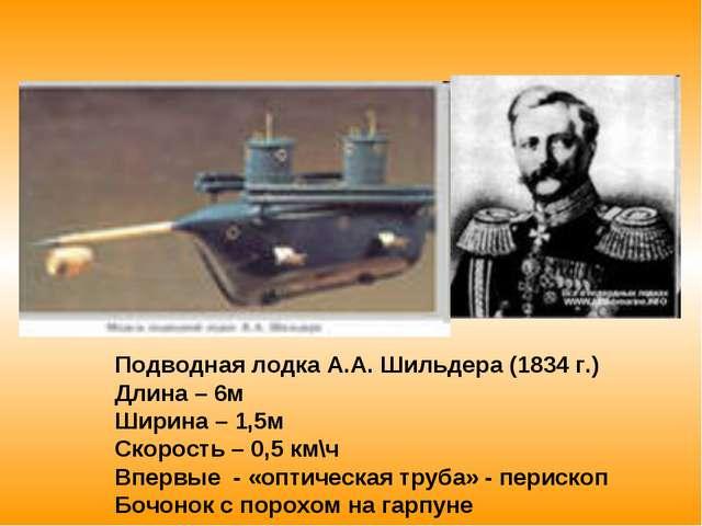 Подводная лодка А.А. Шильдера (1834 г.) Длина – 6м Ширина – 1,5м Скорость – 0...