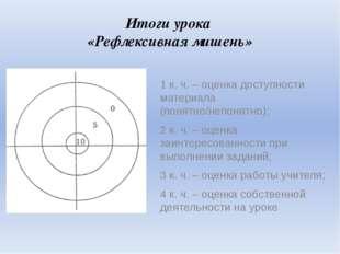 Итоги урока «Рефлексивная мишень»  1 к. ч. – оценка доступности материала (п