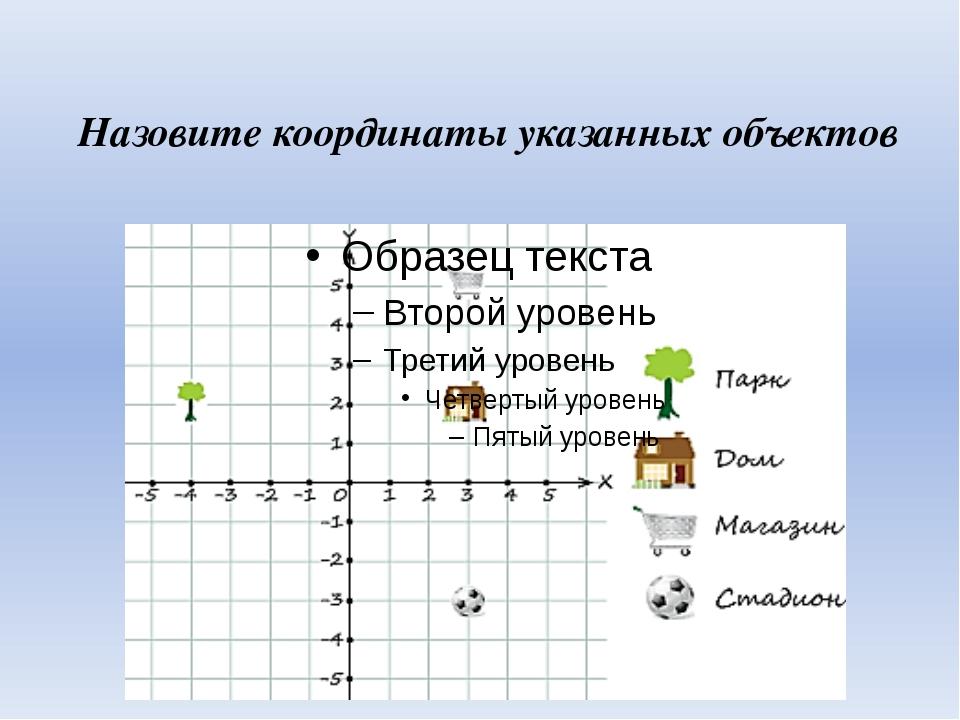 Назовите координаты указанных объектов