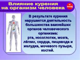 В результате курения нарушается деятельность большинства важнейших органов че