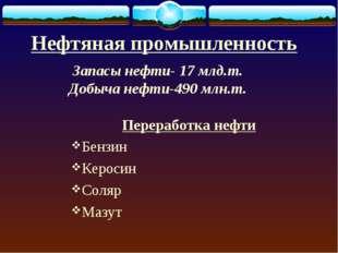Нефтяная промышленность Переработка нефти Бензин Керосин Соляр Мазут Запасы н