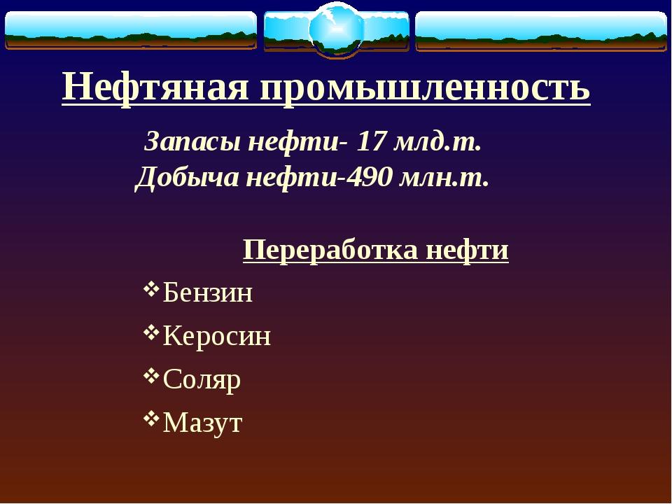 Нефтяная промышленность Переработка нефти Бензин Керосин Соляр Мазут Запасы н...