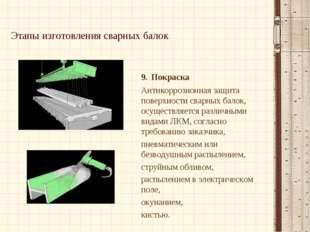 Этапы изготовления сварных балок 9. Покраска Антикоррозионная защита поверхно