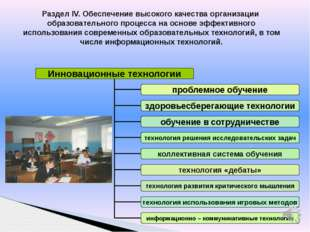 Раздел IV. Обеспечение высокого качества организации образовательного процесс