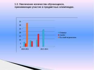 1.3. Увеличение количества обучающихся, принимающих участие в предметных олим