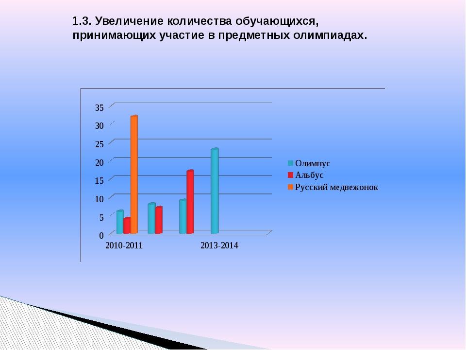 1.3. Увеличение количества обучающихся, принимающих участие в предметных олим...