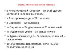 Жертвы Пугачевского бунта в Поволжье в Нижегородской губернии – из 1425 дворя