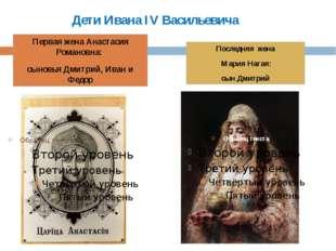 Дети Ивана IV Васильевича Первая жена Анастасия Романовна: сыновья Дмитрий, И
