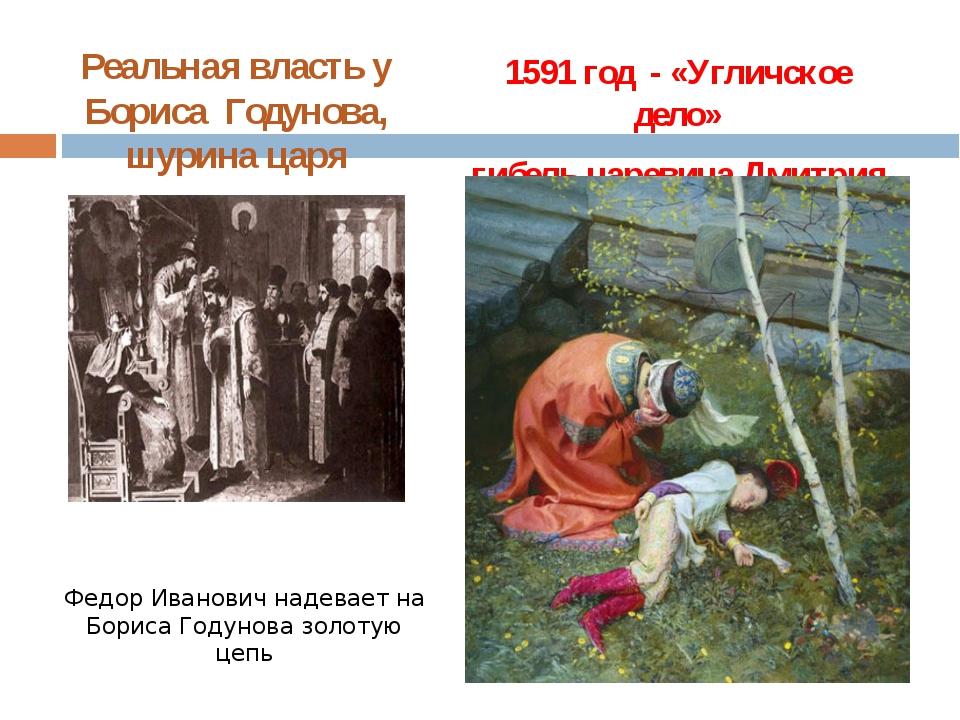Реальная власть у Бориса Годунова, шурина царя Федор Иванович надевает на Бор...