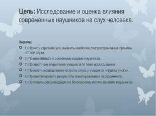 Цель: Исследование и оценка влияния современных наушников на слух человека. З