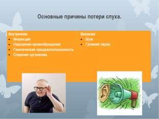 Основные причины потери слуха. Внутренние Инфекция Нарушение кровообращения Г