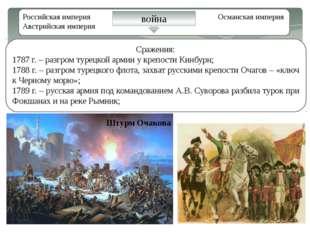Российская империя Османская империя Австрийская империя война Сражения: 1787
