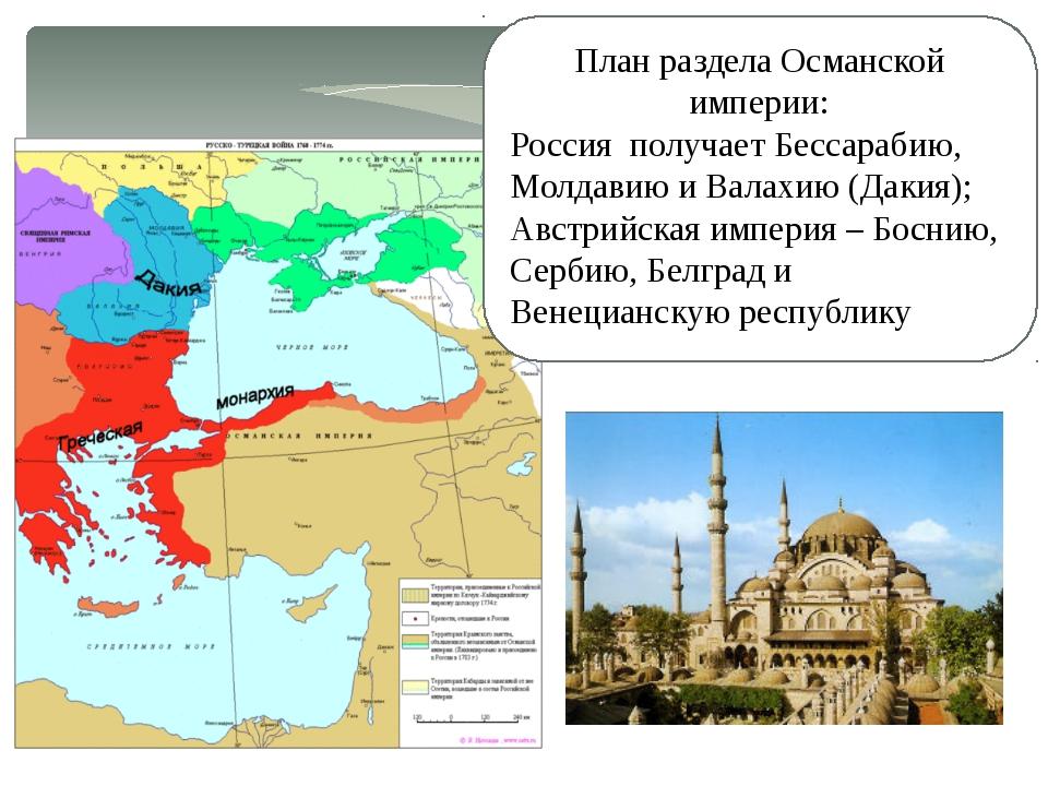 План раздела Османской империи: Россия получает Бессарабию, Молдавию и Валахи...