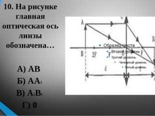 10. На рисунке главная оптическая ось линзы обозначена… А) АВ Б) АА1 В) А1В1