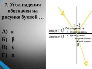 7. Угол падения обозначен на рисунке буквой … А) α Б) β В) γ Г) n